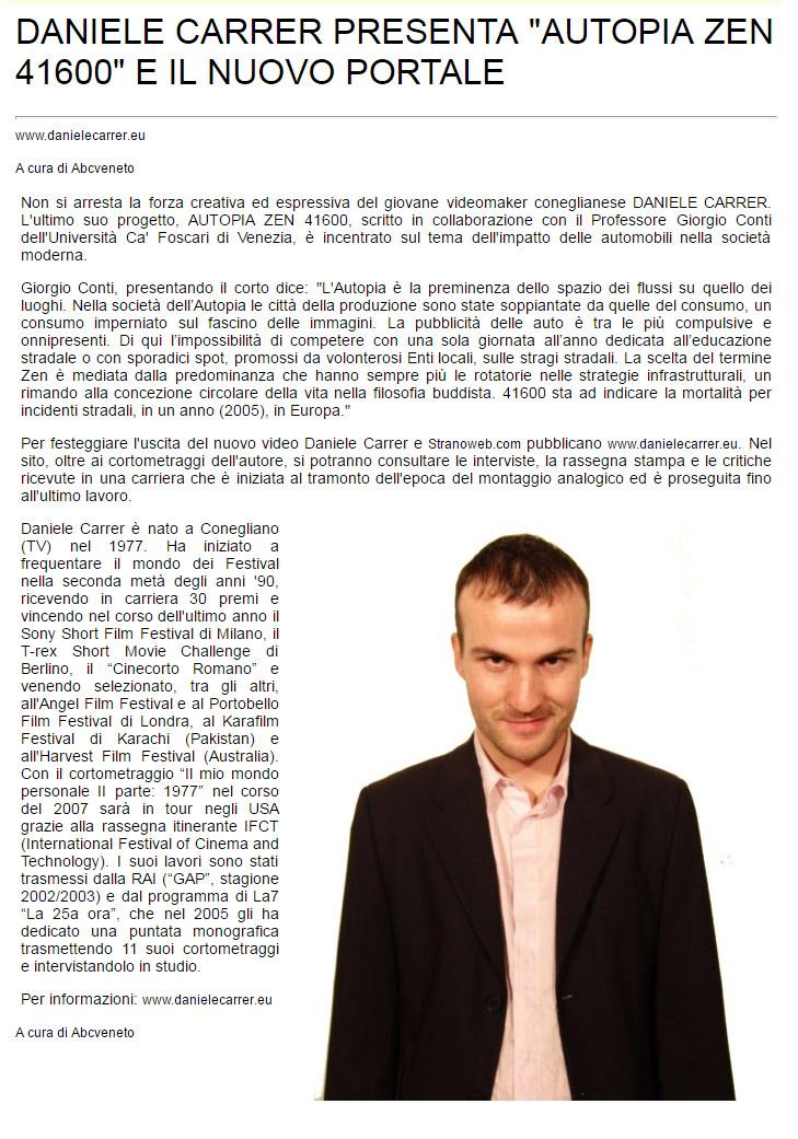 ABCveneto parla della prensentazione del cortometraggio di Daniele Carrer Autopia Zen 41600