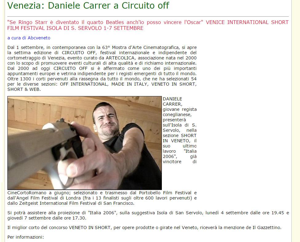 ABCveneto parla della partecipazione di Daniele Carrer a Circuito Off nel 2006