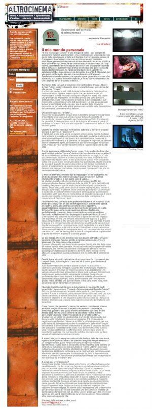 Max Franceschini intervista l'autore di cortometraggi Daniele Carrer per Altrocinema.it nel 2003