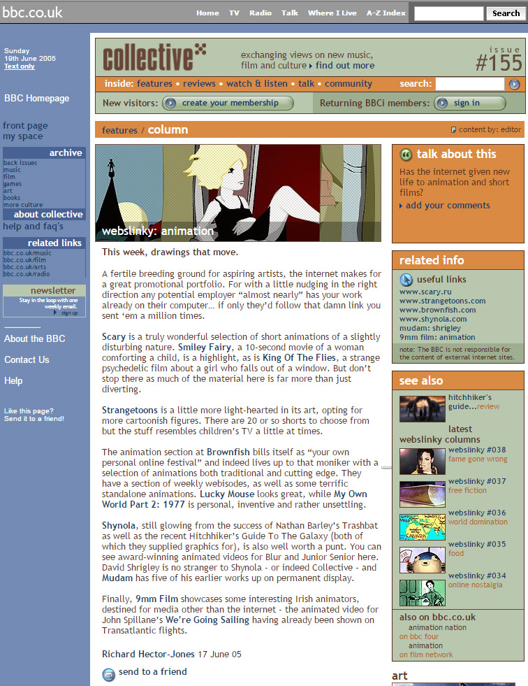 """Il sito della BBC nel 2005 parla del cortometraggio di Daniele Carrer """"My Own world part 2: 1977""""."""