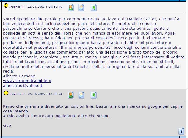 """Messaggio su un forum relativo al cortometraggio di Daniele Carrer """"il mio mondo personale""""."""