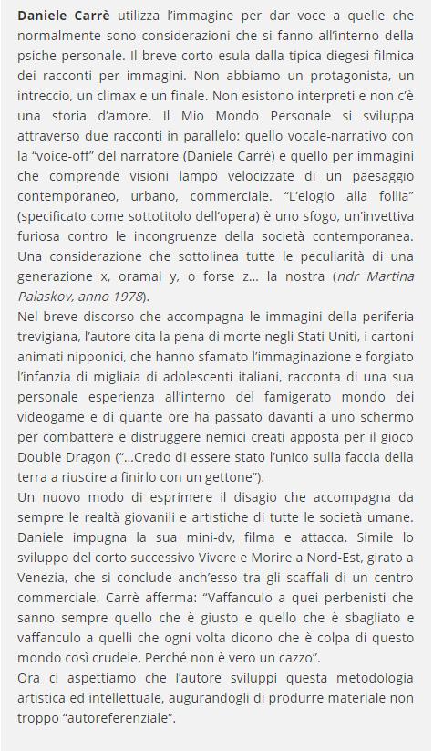 """Fucine Mute recensisce """"il mio mondo personale"""" di Daniele Carrer"""