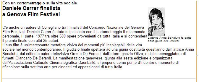 Notizia della selezione di un cortometraggio di Daniele Carrer al Genova Film Festival