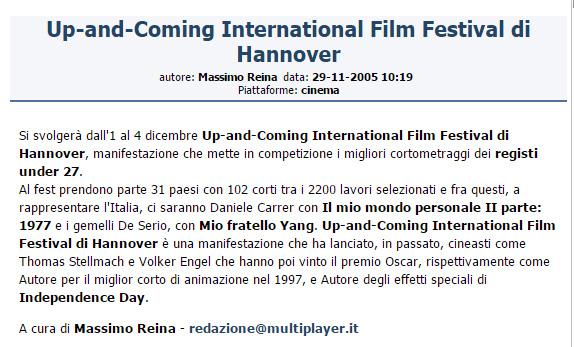 Notizia di Daniele Carrer selezionato all'Hannover Film Festival 2005