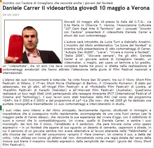 """Comunicato stampa sulla proiezione di cortometraggi di Daniele Carrer nella rassegna di Verona nel 2007 """"Icone del Nordest"""""""