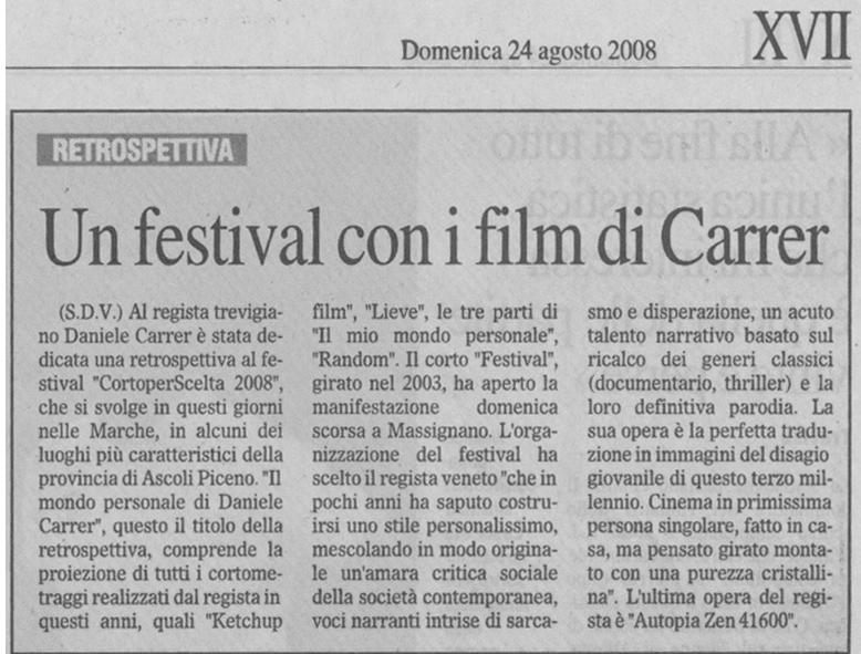 Il Gazzettino del 24 agosto 2008 parla di Daniele Carrer