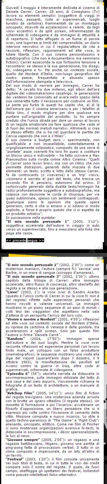 Programma della monografia su Daniele Carrer andata in onda su La7 nel 2005 e 2006