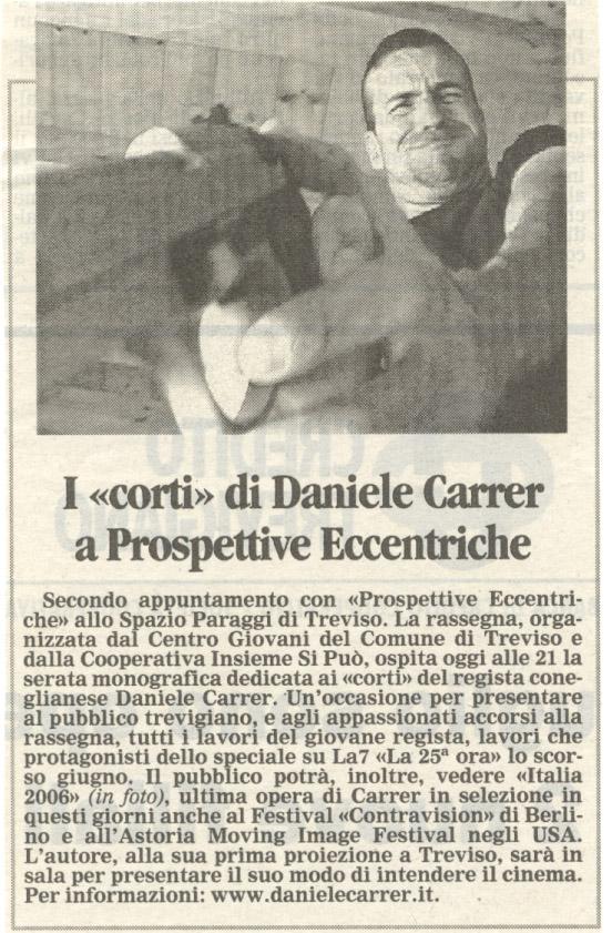 """La Tribuna di Treviso parla della Rassegna """"Prospettive Eccentriche"""" allo Spazio Paraggi di Treviso nel settembre 2006"""