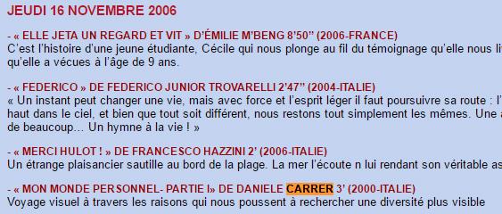 Notizia della proiezione di un cortometraggio di Daniele Carrer a Parigi nel 2006