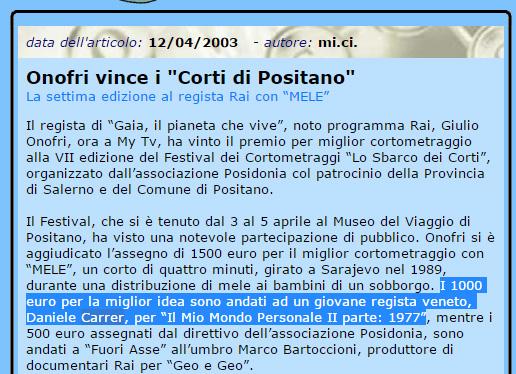 """Notizia della vincita di un premio del regista di cortometraggi Daniele Carrer a """"Corti di Positano"""" 2003"""