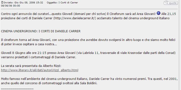 Notizia della proiezione dei corti di Daniele Carrer a Ferrara nel 2006
