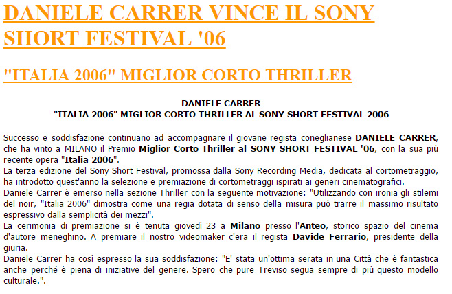 Notizia del premio ricevuto da Daniele Carrer al Sony Short Festival 2006