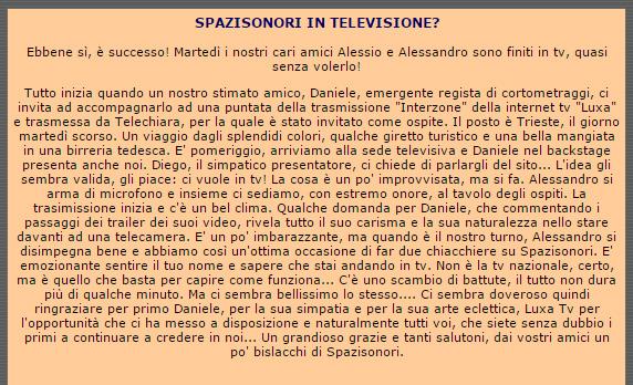 Resoconto della partecipazione di Daniele Carrer ad un programma televisivo di una televisione locale di Trieste