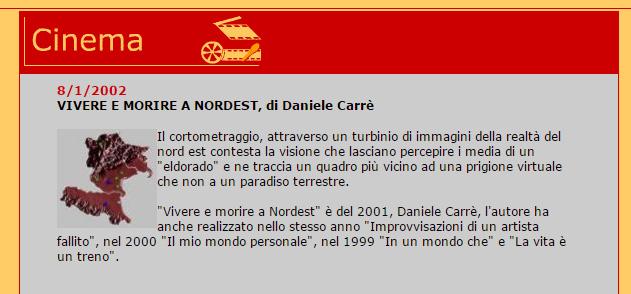 """Presentazione del cortometraggio di Daniele Carrer """"vivere e morire a nordest""""."""
